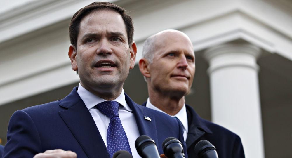 Los senadores estadounidenses Marco Rubio y Rick Scott