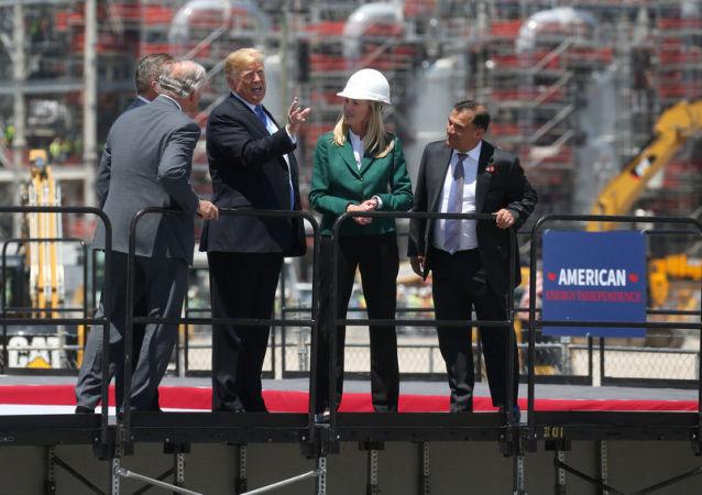 Donald Trump, presidente de EEUU, en la inauguración de la planta de Cameron LNG