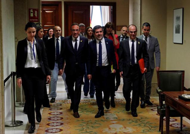 Presos independentistas Josep Rull, Jordi Sànchez and Jordi Turull (archivo)