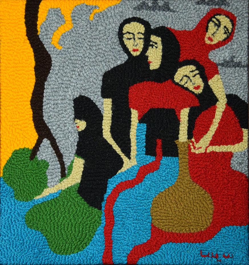 Tejido en gobelino sobre lienzo. Obra de Lala Keuylian incluida en la muestra 'Armenias'