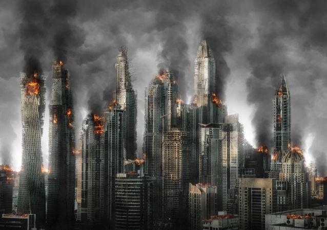 Una ciudad destruida (ilustración gráfica)