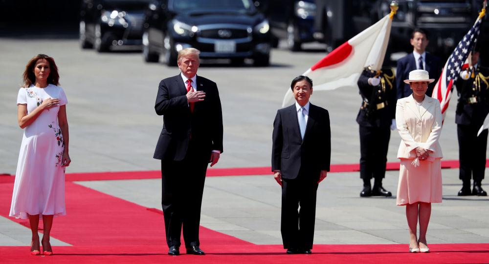 El presidente de EEUU Donald Trump con su esposa Melania, el emperador japonés Naruhito y la emperatriz Masako
