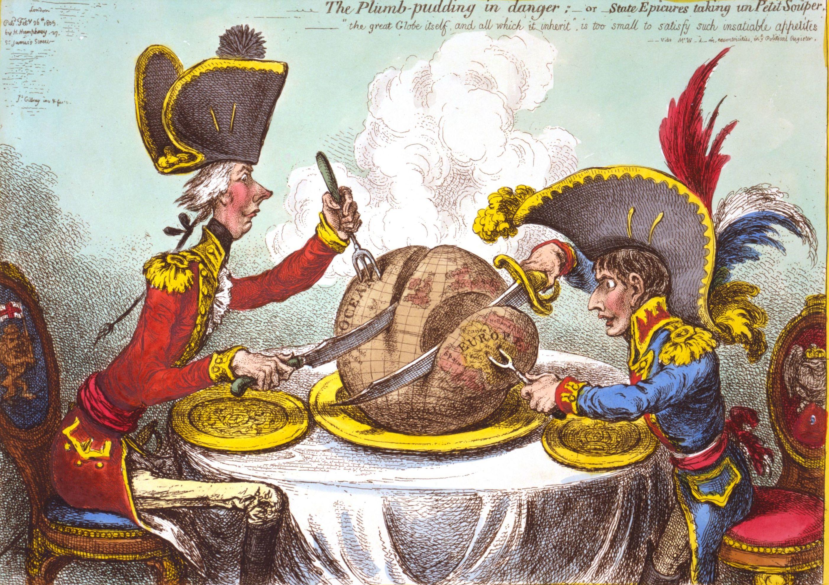 Caricatura de James Gillray donde se muestra a un pequeño Napoleón Bonaparte