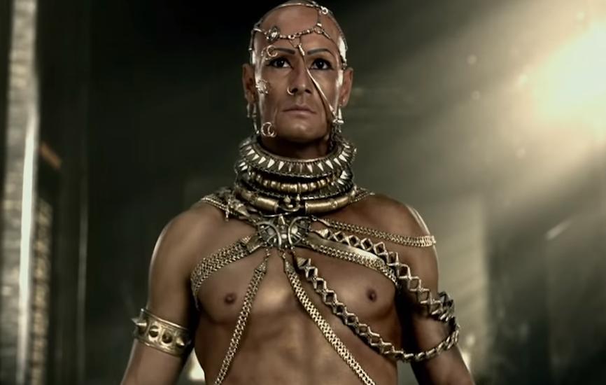 Representación del rey persa Jerjes I de la película '300'