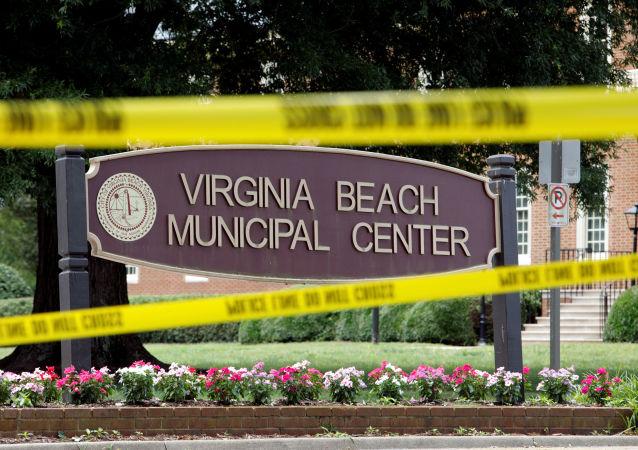 El lugar del tiroteo en Virginia Beach, EEUU