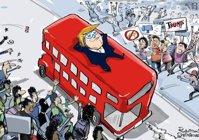 Trump en Londres: No vi protestas, son noticias falsas
