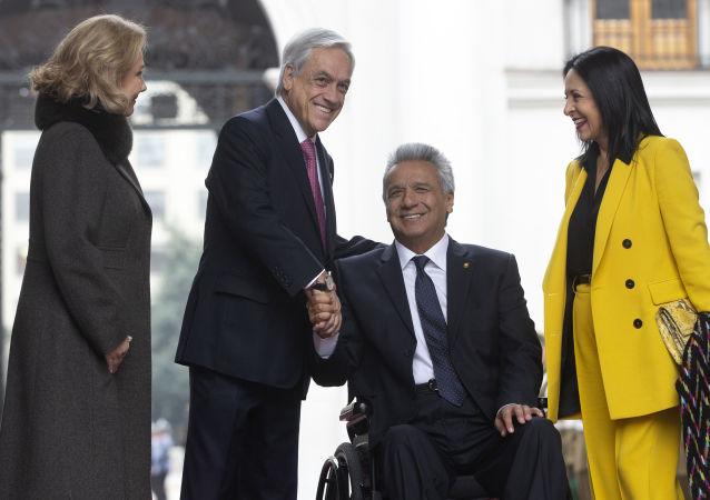 El presidente de Chile, Sebastián Piñera, y su homólogo ecuatoriano Lenín Moreno