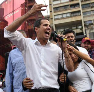 El líder opositor venezolano Juan Guaidó en un acto en Caracas