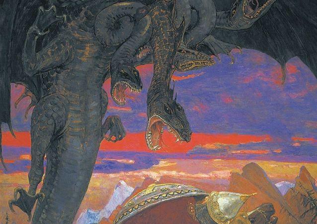 Zmey Gorynych, un dragón tricéfalo de la mitología precristiana eslava.