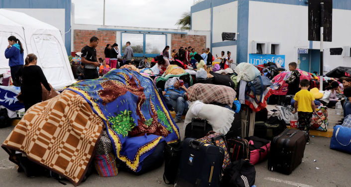 Migrantes venezolanos en la frontera peruana