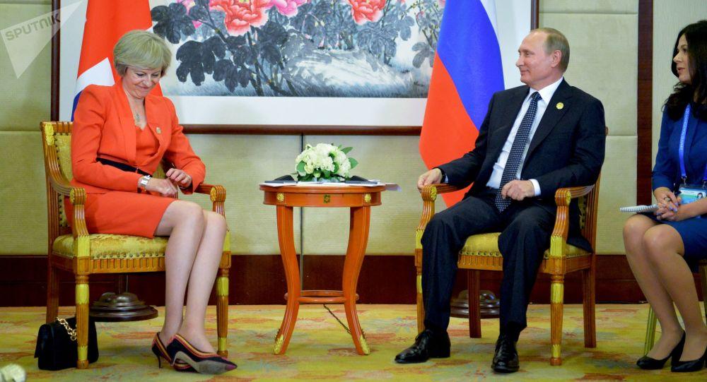 La primera ministra del Reino Unido, Theresa May, y el presidente ruso, Vladímir Putin