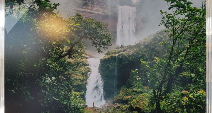 Una foto del Amazonas en la exposición en Moscú