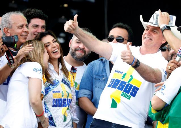 Jair Bolsonaro, presidente brasileño, durante una marcha evangélica en Sao Paulo, Brasil