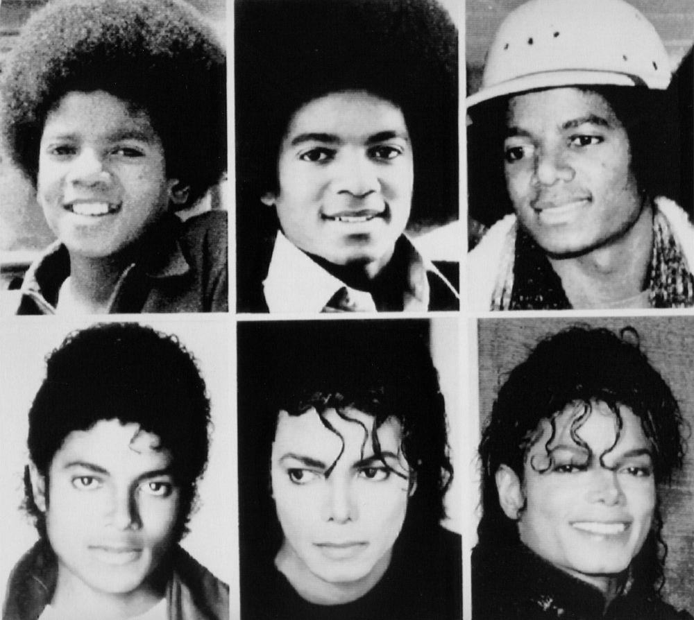 Jackson obtuvo el título del Rey de Pop en la década de 1980, cuando se lanzó su álbum más famoso Thriller (1982). Encabezó la lista en el Billboard 200 durante 37 semanas y permaneció allí durante más de dos años. Thriller recibió ocho premios Grammy y siete American Music Awards. El Libro Guinness lo declaró el álbum más vendido de toda la historia: se vendieron alrededor de 109 millones de copias en todo el mundo. En la foto: Michael Jackson en diferentes años de su vida.