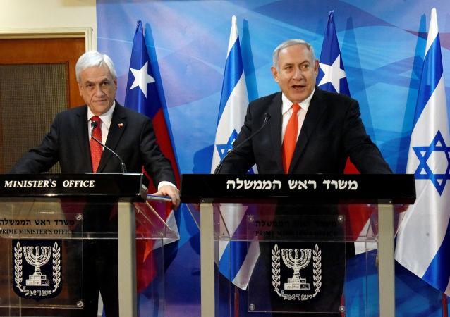 El presidente de Chile, Sebastián Piñera junto al primer ministro de Israel, Benjamin Netanyahu