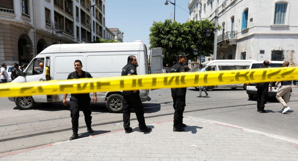 El lugar del atentado en la capital de Túnez