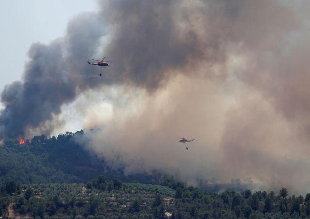 Incendio forestal en Catlauña, España