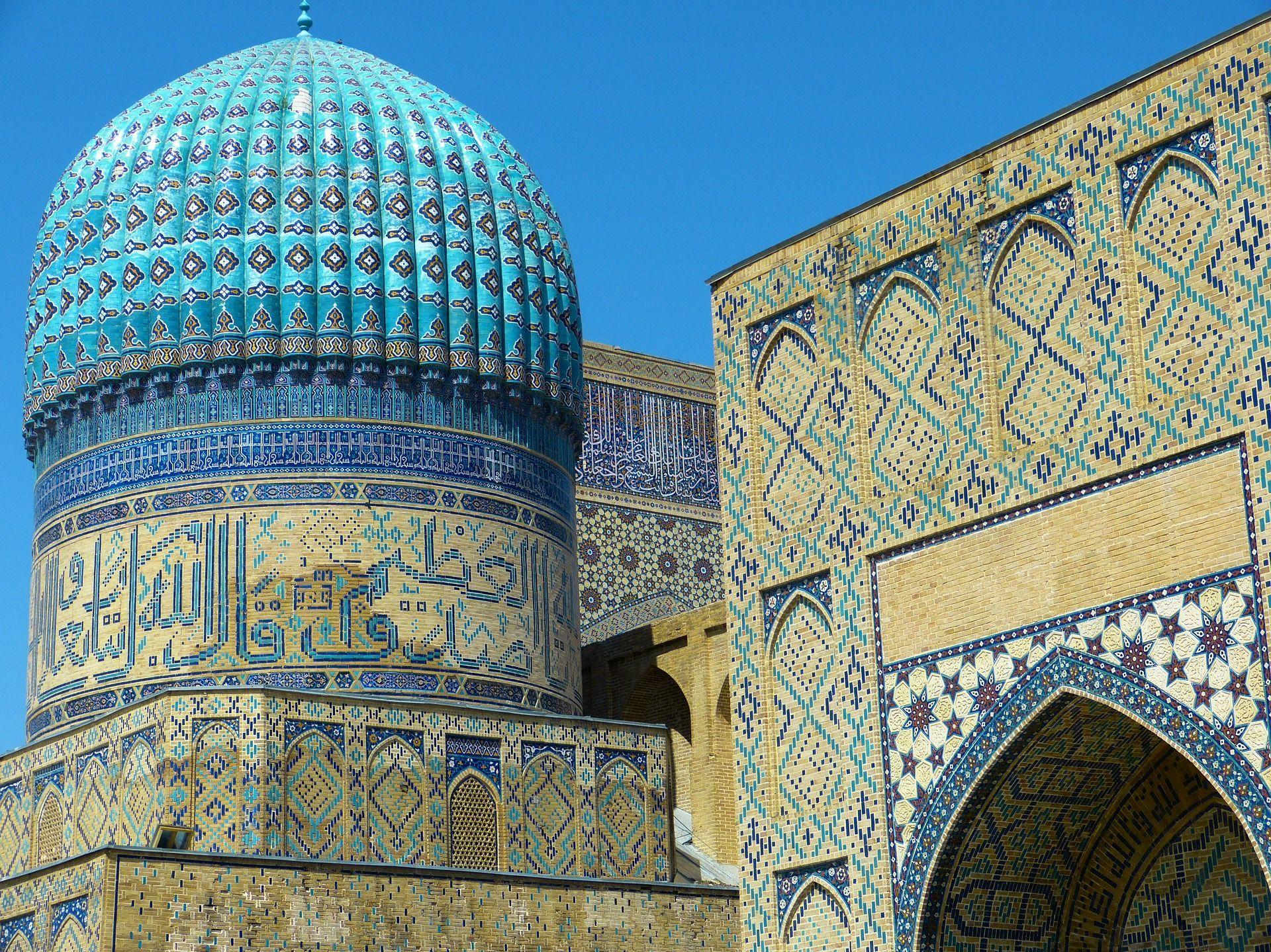 La mezquita de Samarcanda, Uzbekistán
