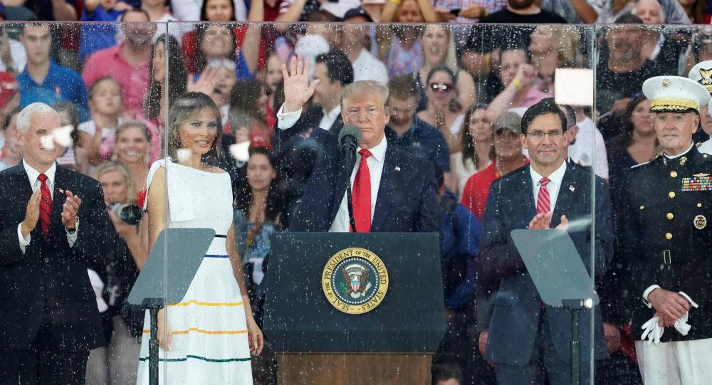 Trump durante el discurso del Día de Independencia de EEUU
