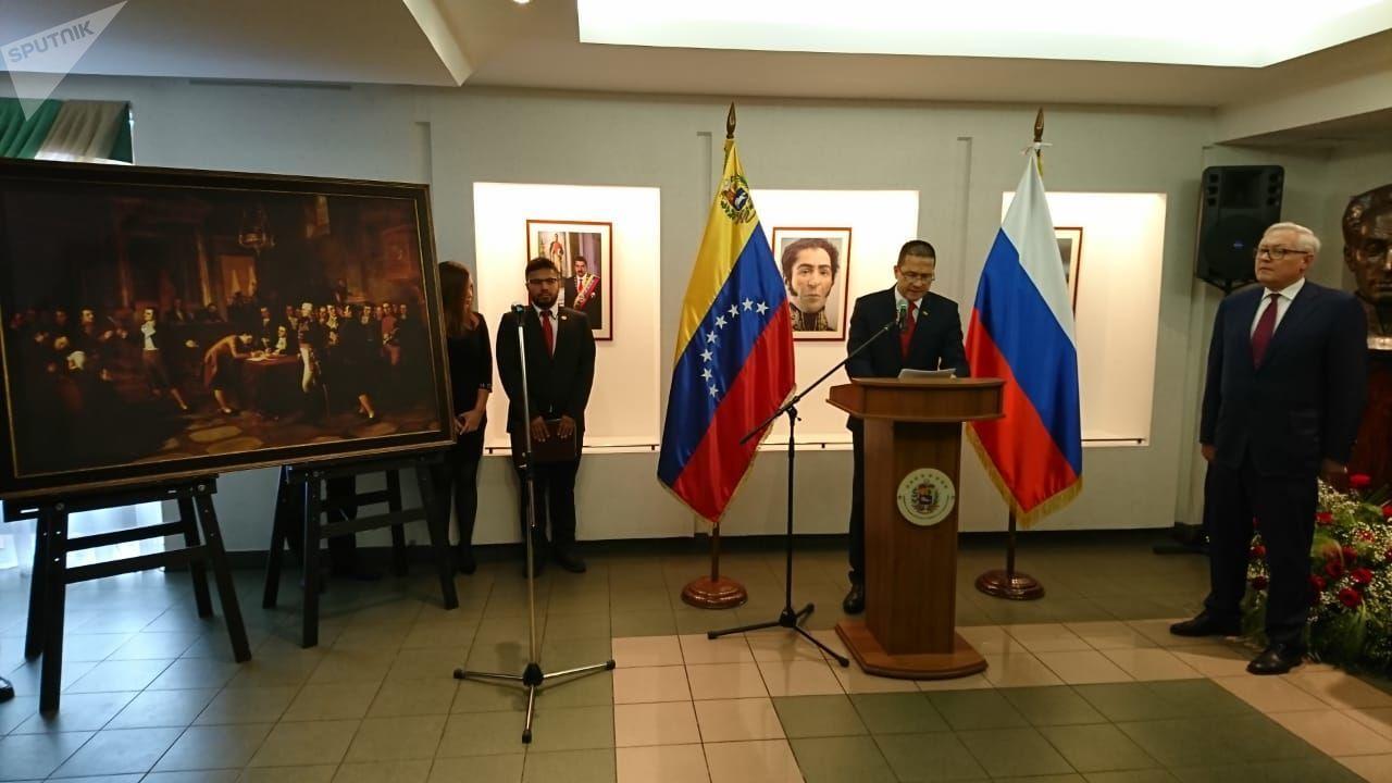 El embajador venezolano en Moscú, Carlos Rafael Faría Tortosa, y el viceministro de Exteriores ruso Serguéi Riabkov