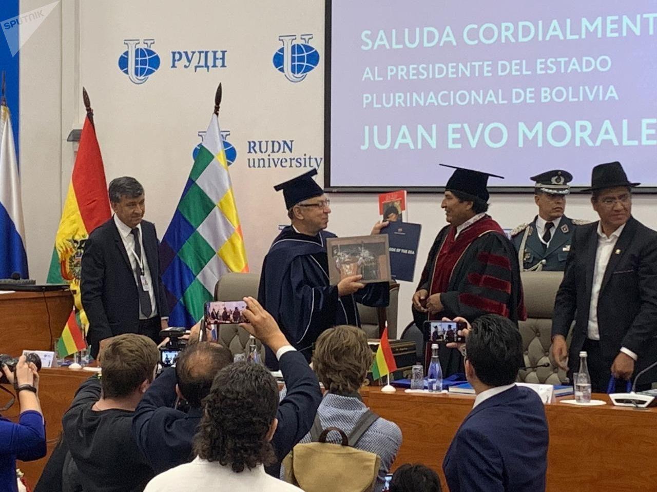Evo Morales recibe el título de Doctor Honoris Causa en la Universidad rusa de la Amistad de los Pueblos (RUDN)