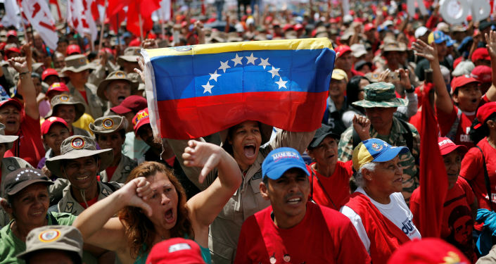 Protestas contra el informe de Bachelet en Caracas (Venezuela), el 13 de julio de 2019