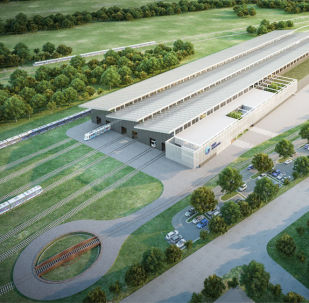 Render de la futura planta ferroviaria de Transmashholding en Argentina