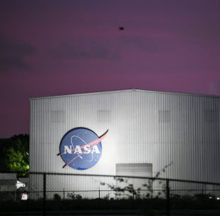 El logo de la NASA en Houston