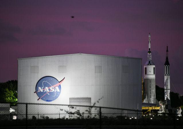 El logo de la NASA en Houston
