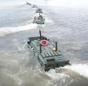 Los infantes de la Marina de guerra de Rusia, en acción