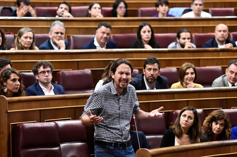 El secretario general de Podemos, Pablo Iglesias, en la primera sesión de investidura en el Parlamento de España