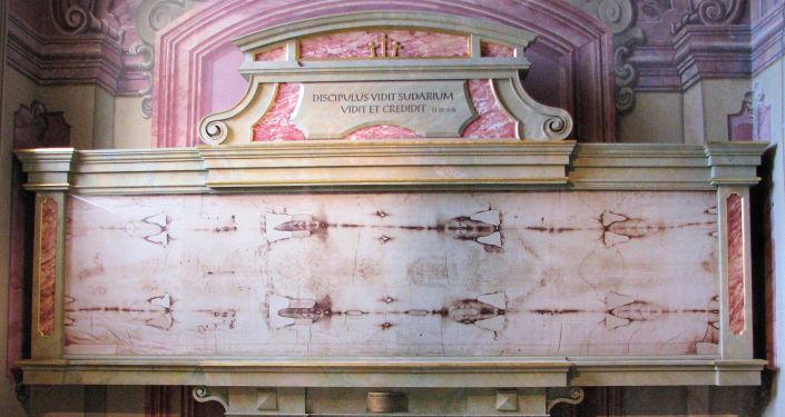 Una copia del Santo Sudario de Turín