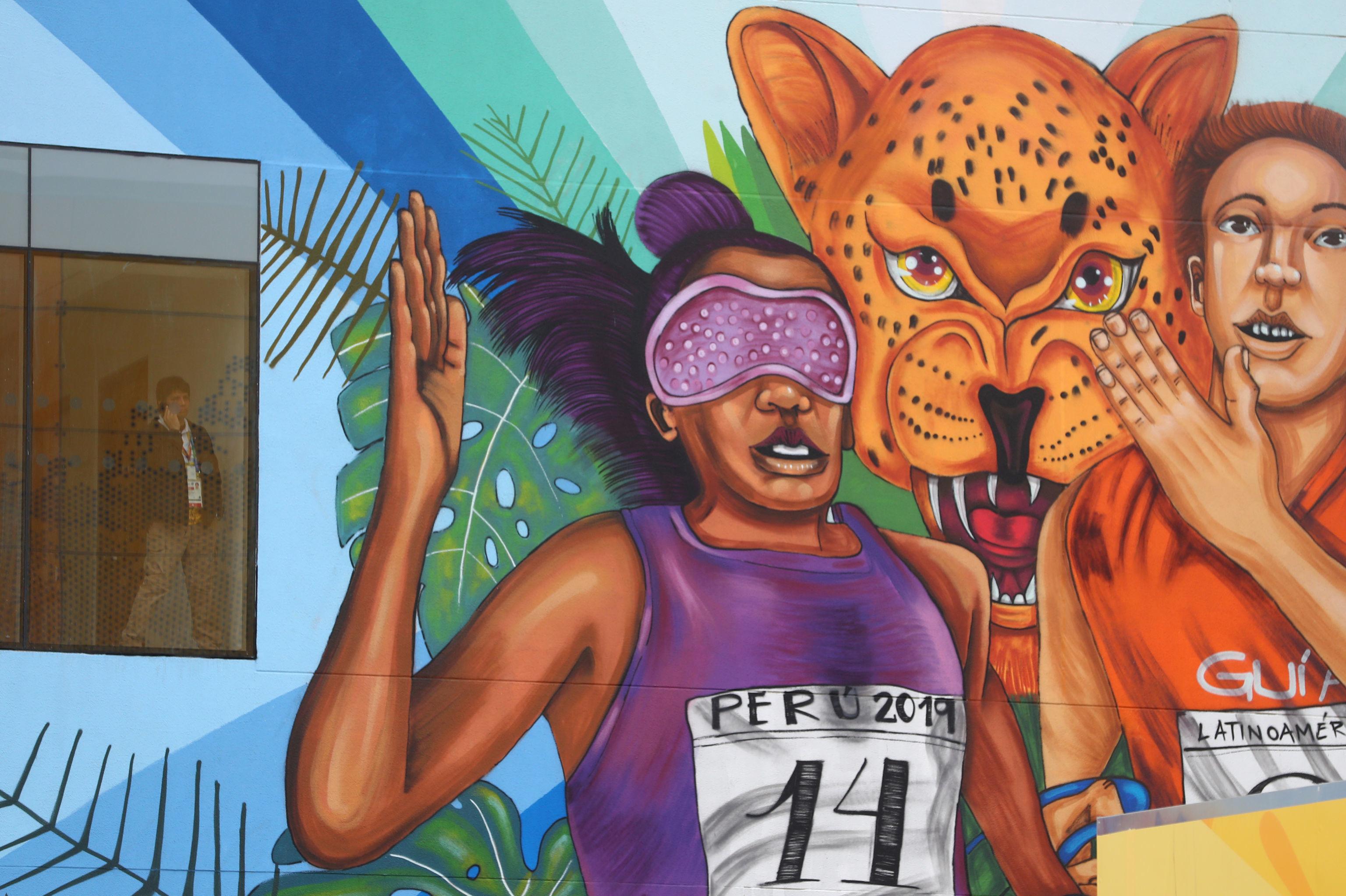 Mural en la Villa Deportiva Nacional de Lima, sede del atletismo en los Juegos Panamericanos de Lima 2019