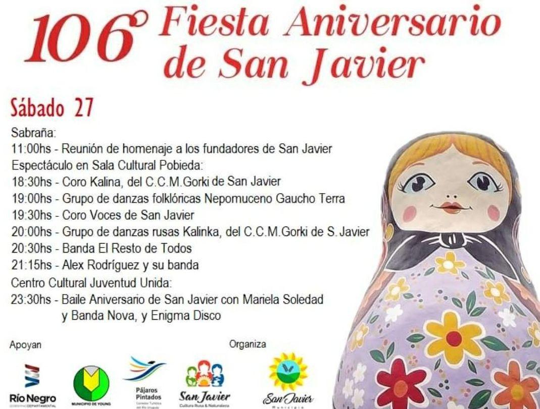 Programa de actividades por los 106 años de San Javier