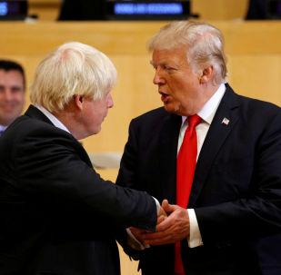 El presidente de los Estadso Unidos, Donald Trump, junto al primer ministro británico, Boris Johnson