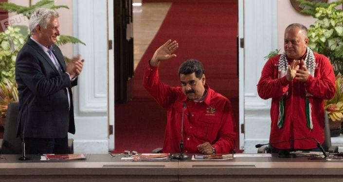 Miguel Díaz-Canel, presidente de Cuba, Nicolás Maduro, presidente de Venezuela, y Diosdado Cabello, presidente de la ANC de Venezuela