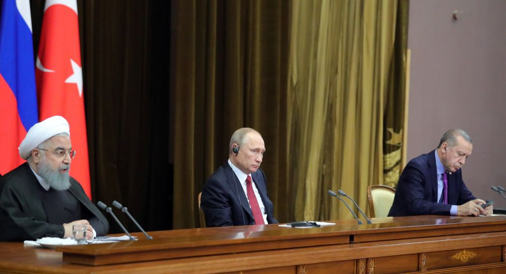 Los presidentes de Rusia, Turquía e Irán, Vladímir Putin, Recep Tayyip Erdogan y Hasán Rohaní