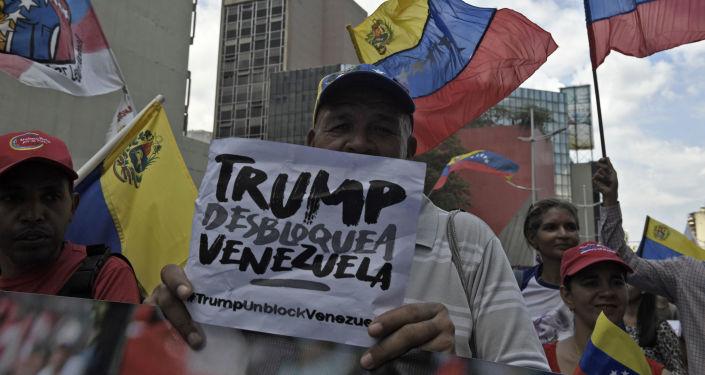 Una protesta progubernamental en Venezuela