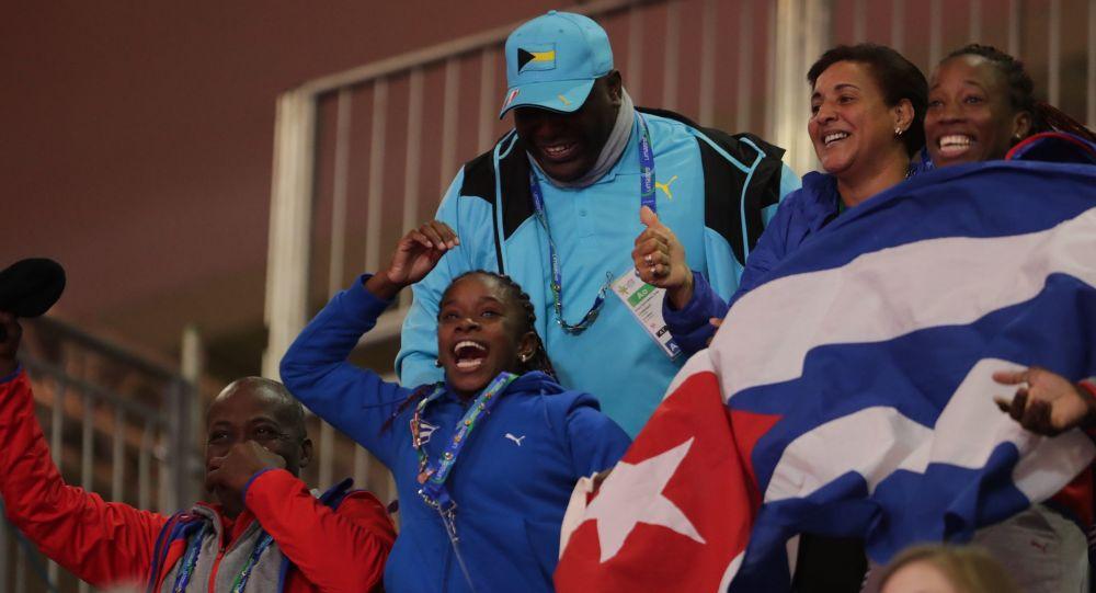 Hinchas cubanos en los XVIII Juegos Panamericanos
