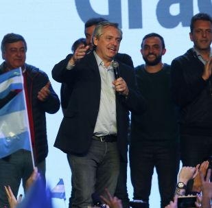 Candidato presidencial del Partido Frente de Todos, Alberto Fernández
