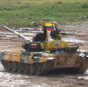 El tanque venezolano T-72B3 durante los Army Games 2019