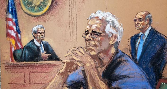Jeffrey Epstein, en un dibujo de su proceso en la corte