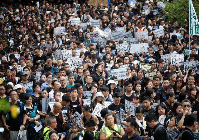 Los profesores durante las protestas en Hong Kong