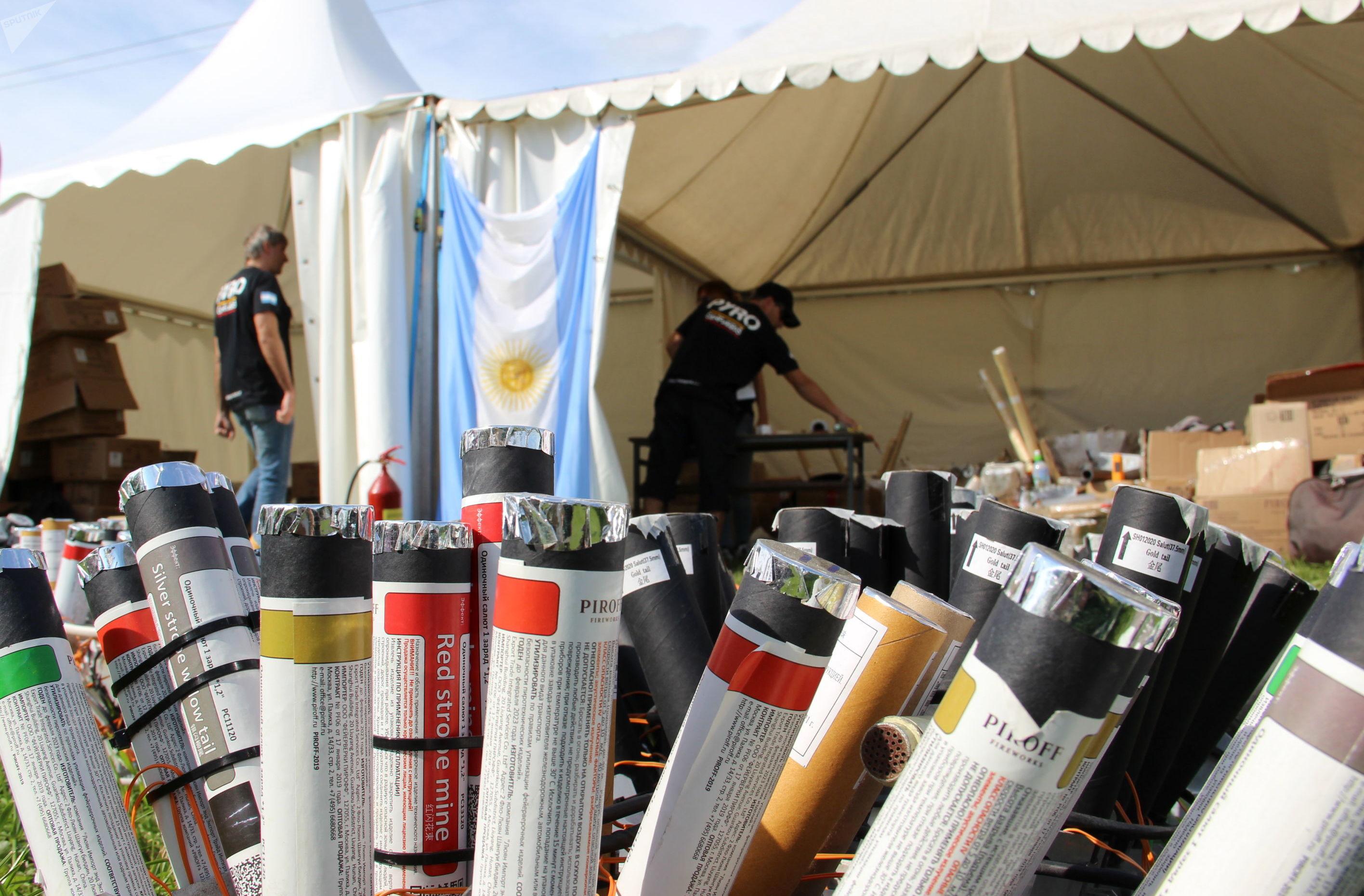 El equipo argentino se prepara para el V Festival Internacional de Fuegos Artificiales Rostec