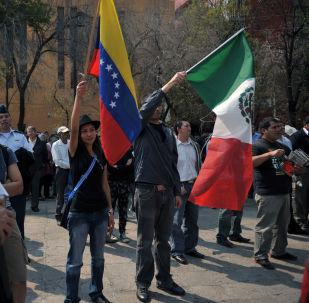 Banderas de Venezuela y México