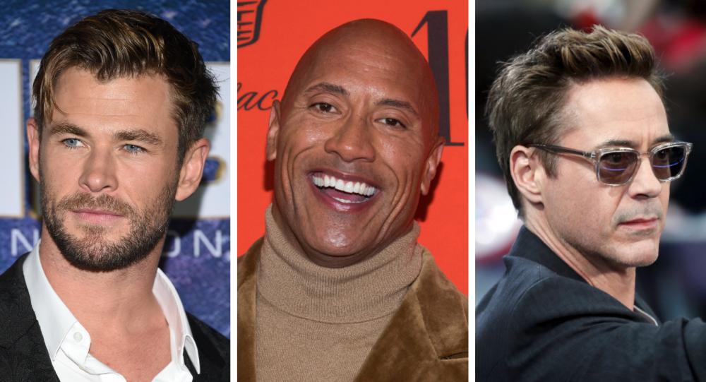 Chris Hemsworth (izda), Dwayne Johnson (ctro) y Robert Downey Jr. (dcha), los actores mejor pagados de Hollywood en 2019