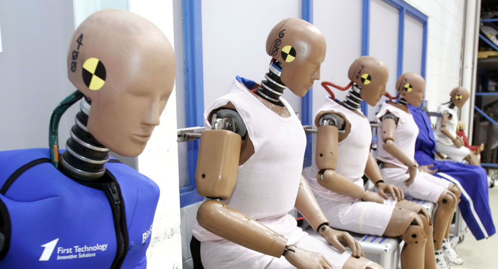 Muñecos de prueba de colisiones, foto de archivo