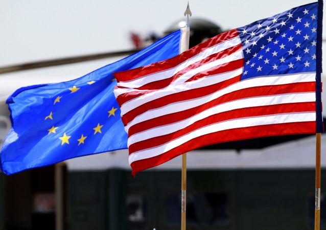 Las banderas de la Unión Europea y de Estados Unidos