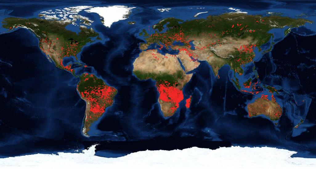 Mapa de incendios forestales de la NASA en agosto de 2019