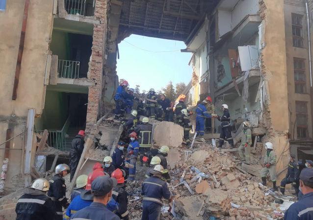 Colapso de un edificio en Drogobich, Ucrania